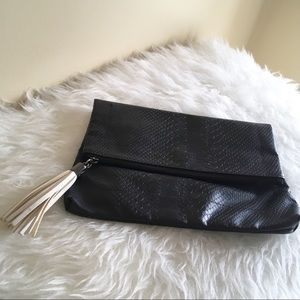 Mossimo Black Textured Leather Fringe Clutch Purse